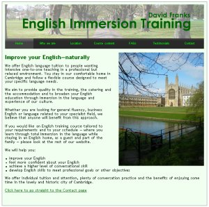 English Immersion Training website